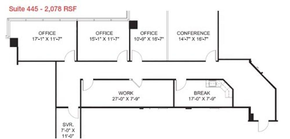 Suite 445 / 2,071 SF/ $4,056 + Electricity