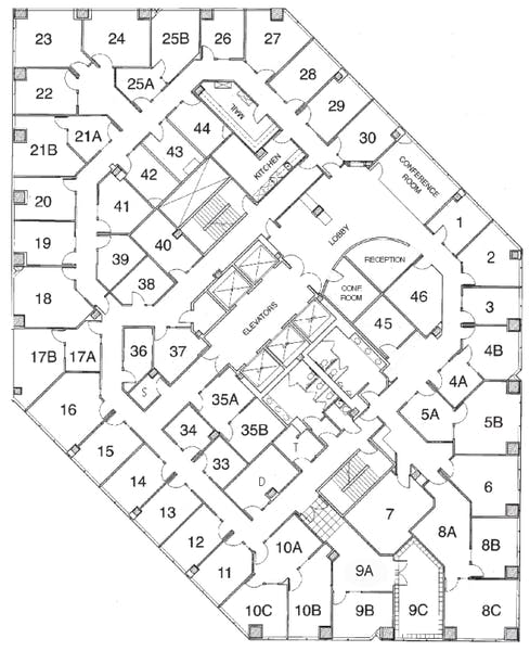 Suite Interior Office / 165 SF/ $1,155