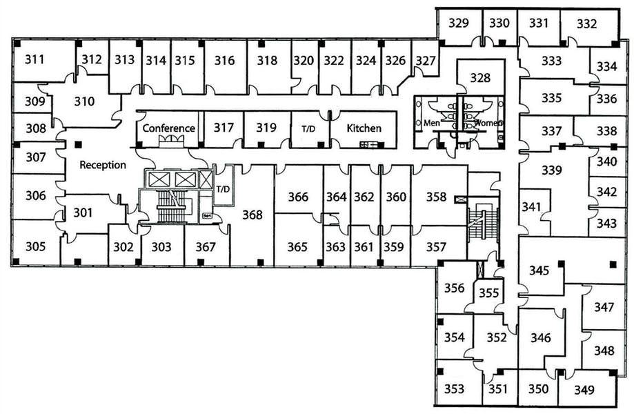 Suite Interior Office / 285 SF/ $1,282