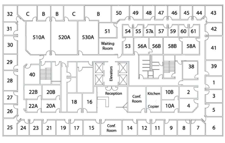 Suite Interior Office / 130 SF/ $1,040