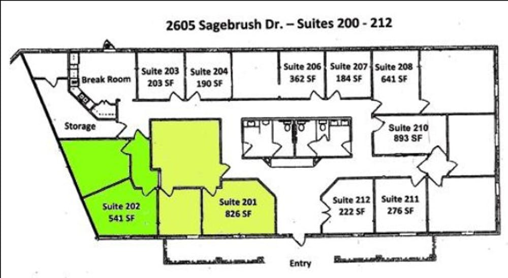 Suite 202 / 540 SF/ $1,100