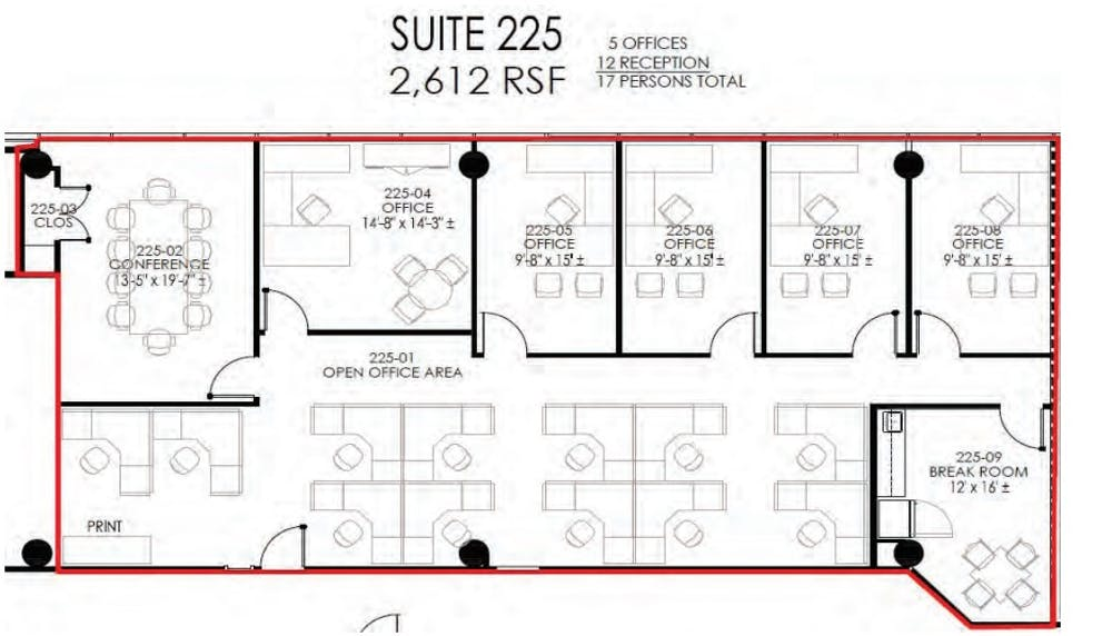 Suite SUBLEASE thru 1/05/22 - 225 / 2,612 SF/ $3,374 + Electricity