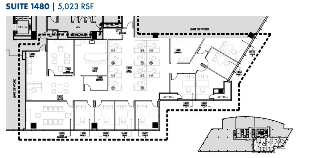 Suite Sublease 1480 thru 5/31/26 / 5,023 SF/ $20,561