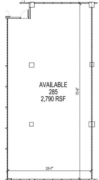 Suite 285 / 2,790 SF/ $3,720 + Electricity