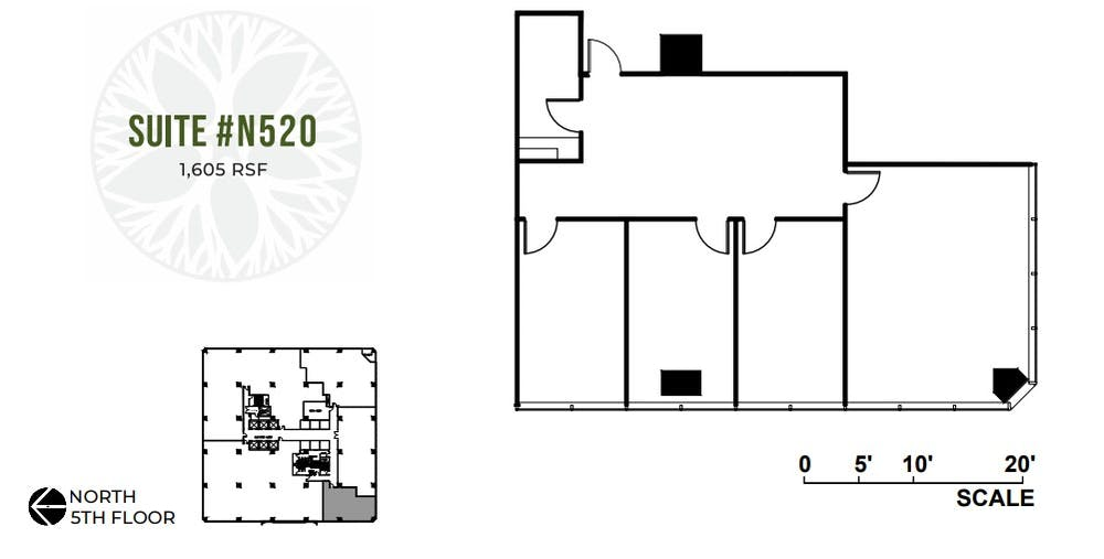 Suite N520 / 1,605 SF/ $2,675 + Electricity